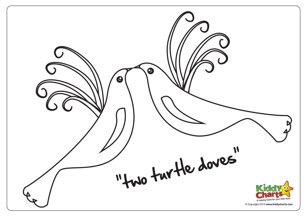 Two turtle doves colouring pages - lovely for the kids at Christmas.