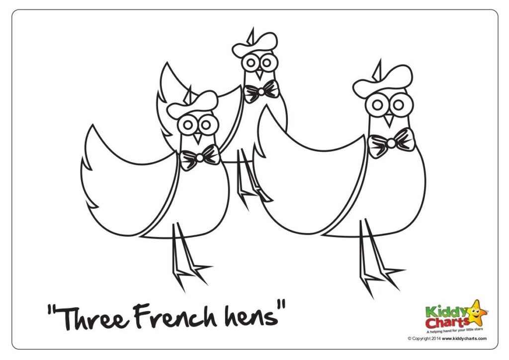 Another lovely colouring page from us in our 12 days of Christmas series - three French hens for your kids to colour in now.
