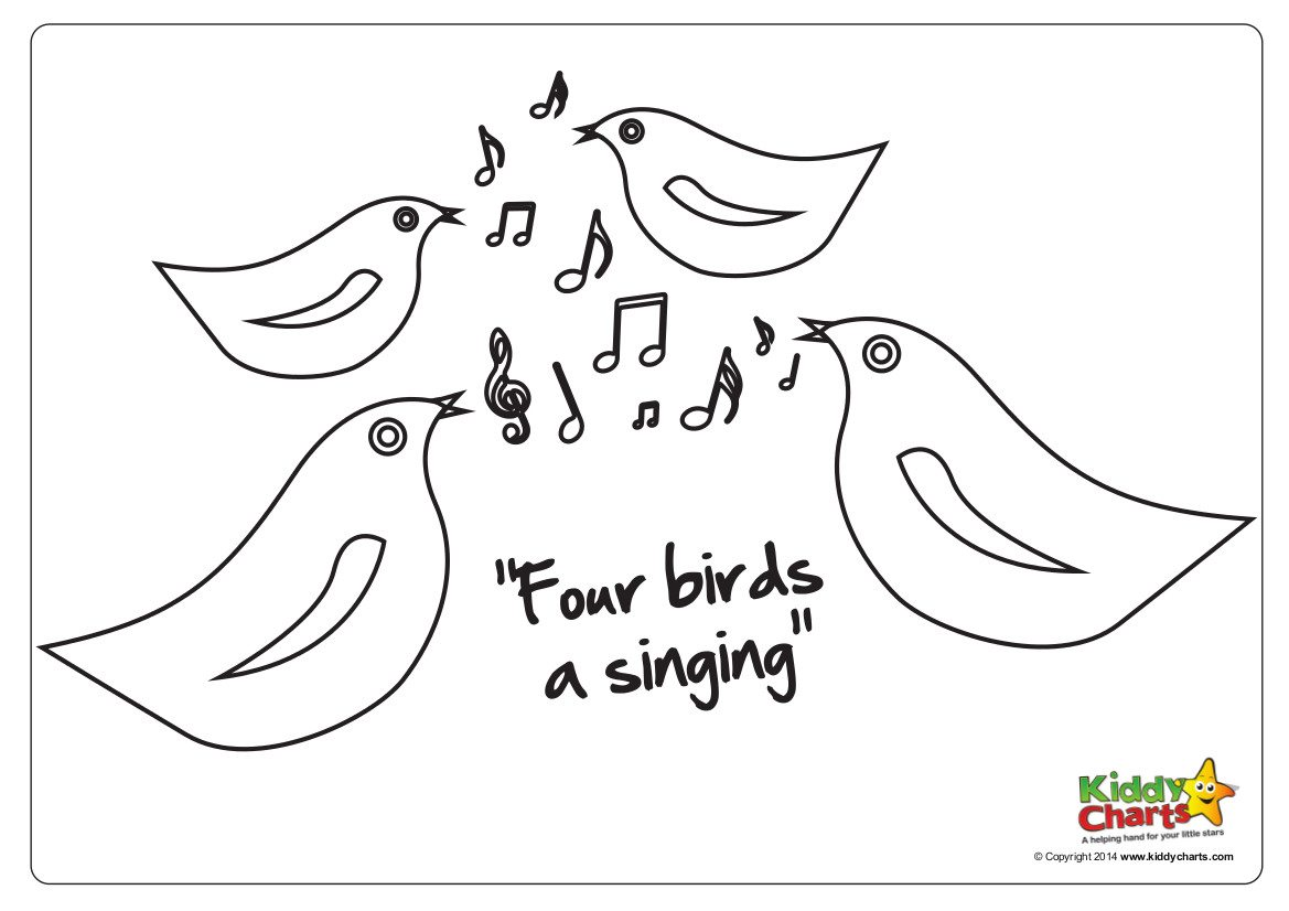 We have another 12 days of Christmas sheet for you - four calling birds or birds a singing - aren't they amazing!