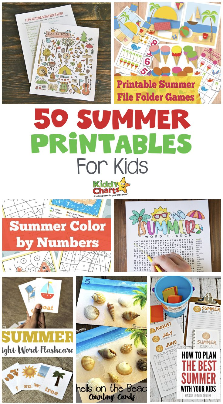 Summer is full of colors and activities for the little people and you. Today I have 50 summer printables for kids to have some super fun summer activities. You can get coloring pages, activity lists, games, worksheets, crafts, and planner printables to make your days more awesome.