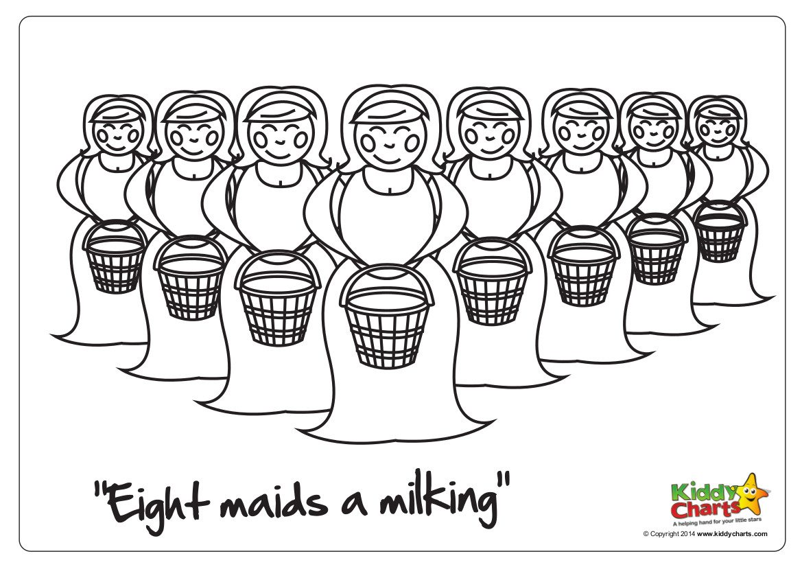 On the 8th day of Christmas 8 maids a milking