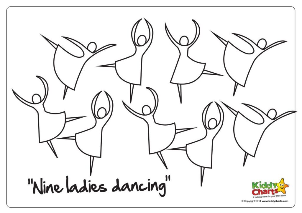 Here you go - another lovely free printable in our series of 12 Days of Christmas pictures. This time its those nine ladies dancing.