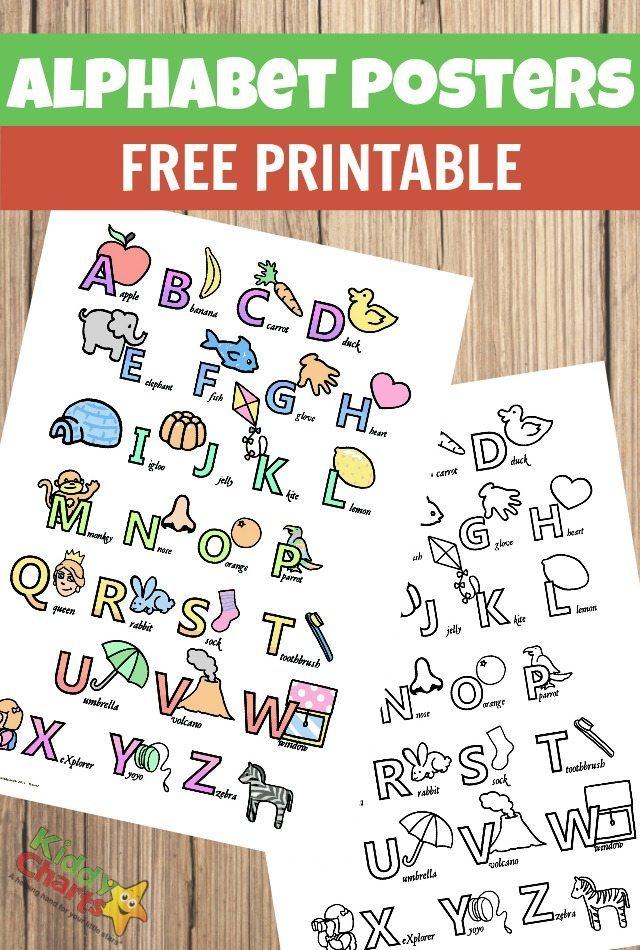Alphabet poster printables for kids