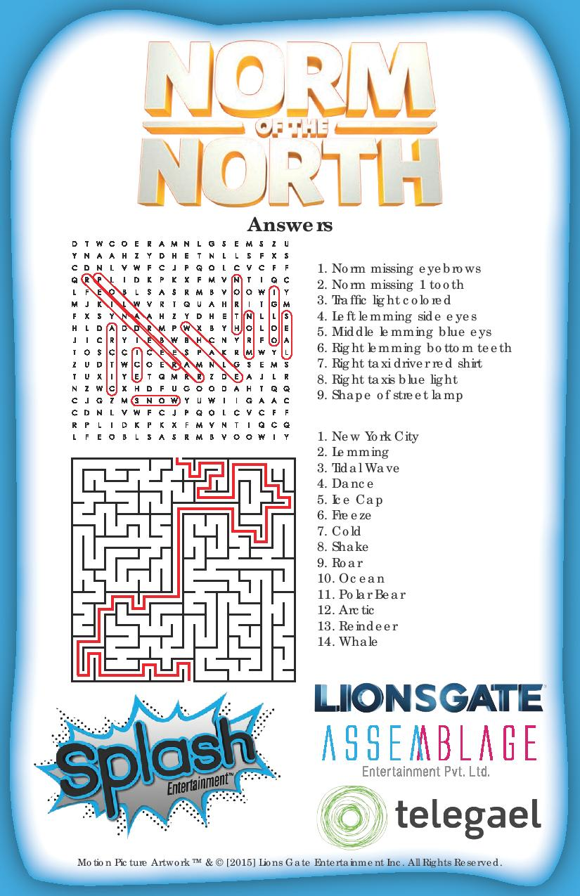 Norm of the North Activity Sheets Answers