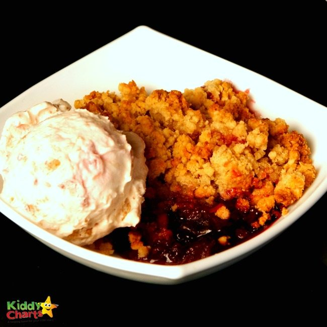 Apple Crumble With Simply's Delicious Cinnamon Ice Cream