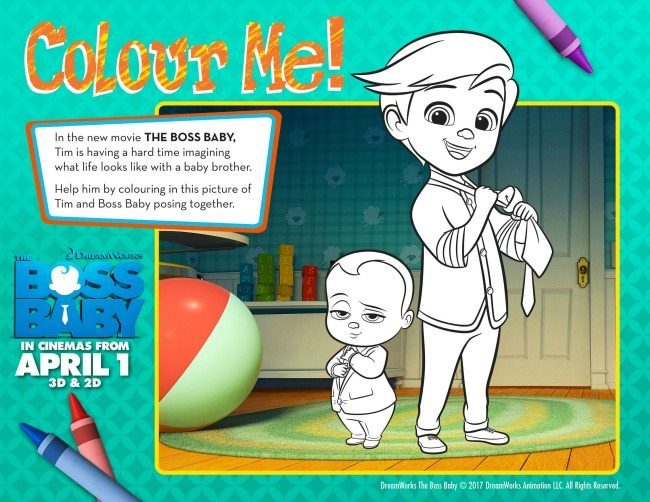 Boss Baby colouring pages and activity sheets colour me