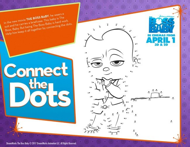 Boss Baby colouring pages and activity sheets connect