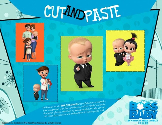 Boss Baby colouring pages and activity sheets cut and paste