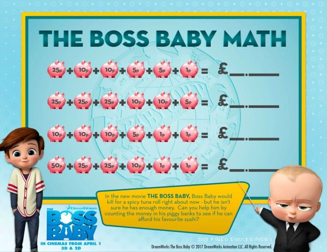Boss Baby colouring pages and activity sheets maths