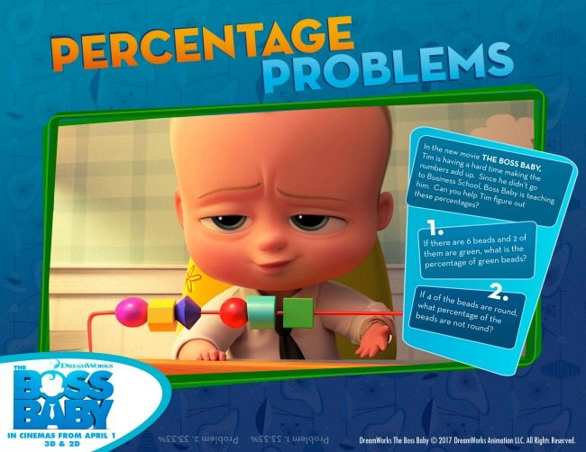 Boss Baby colouring pages and activity sheets percentage
