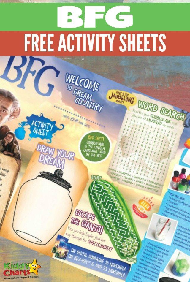 BFG activity sheet for kids