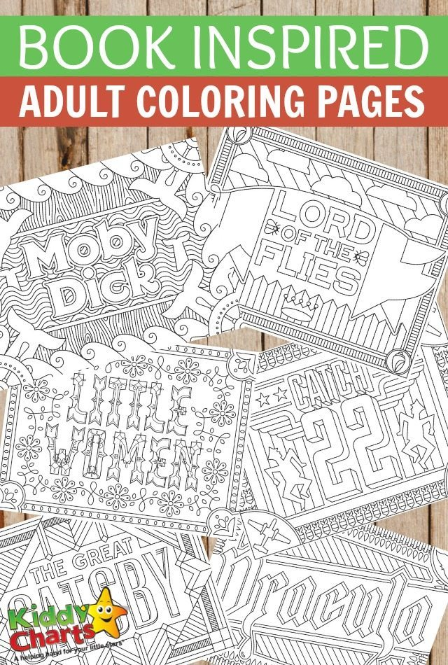 Book Inspired adult coloring pages