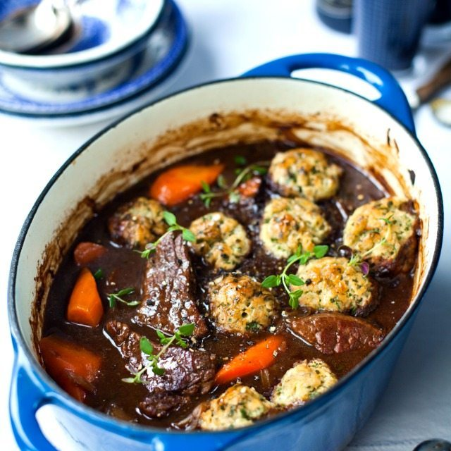 Braised stout beef and carrot stew with parsley dumplings