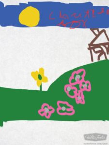 Chatterbox draws a house and a garden with Kids learn to draw
