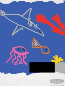 Chatterbox picture of a whale; had to blank out her artists signature I am afraid!