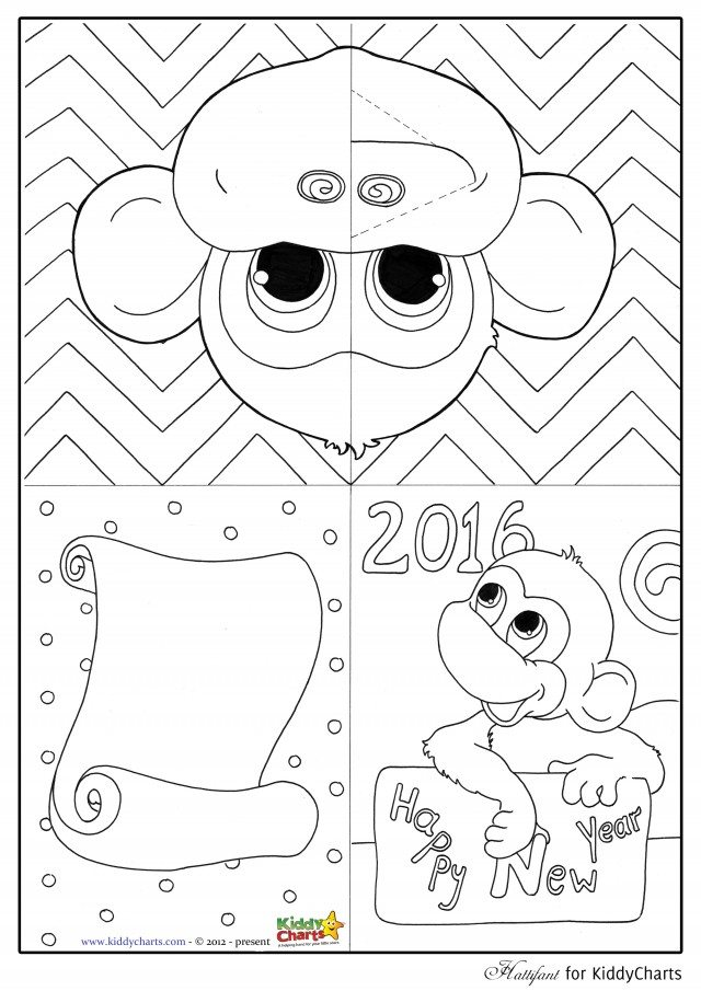 Free Monkey Pop Up Card Template And Colouring Page