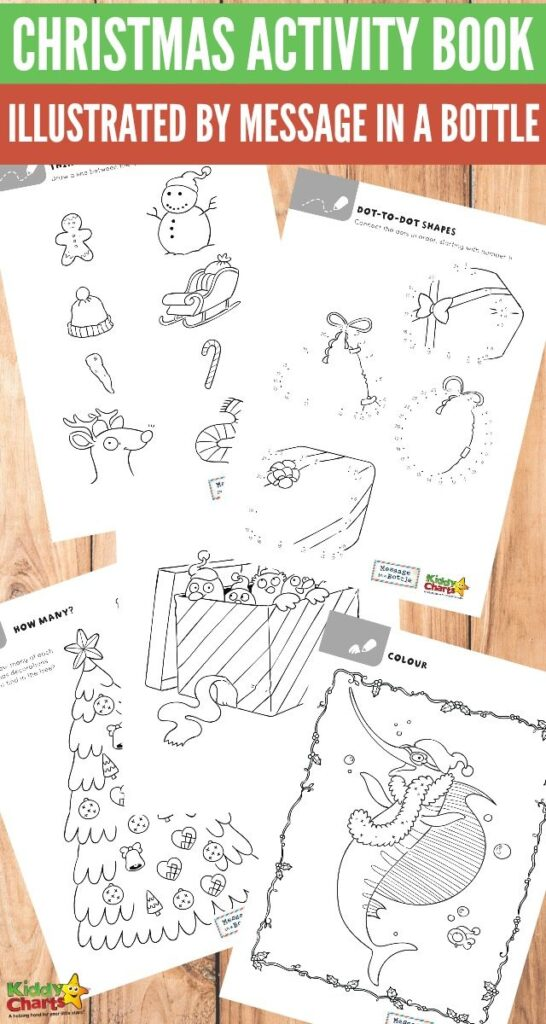 Christmas activity book illustrated by Message in a Bottle #KiddyChartsAdvent #freeprintablesforkids