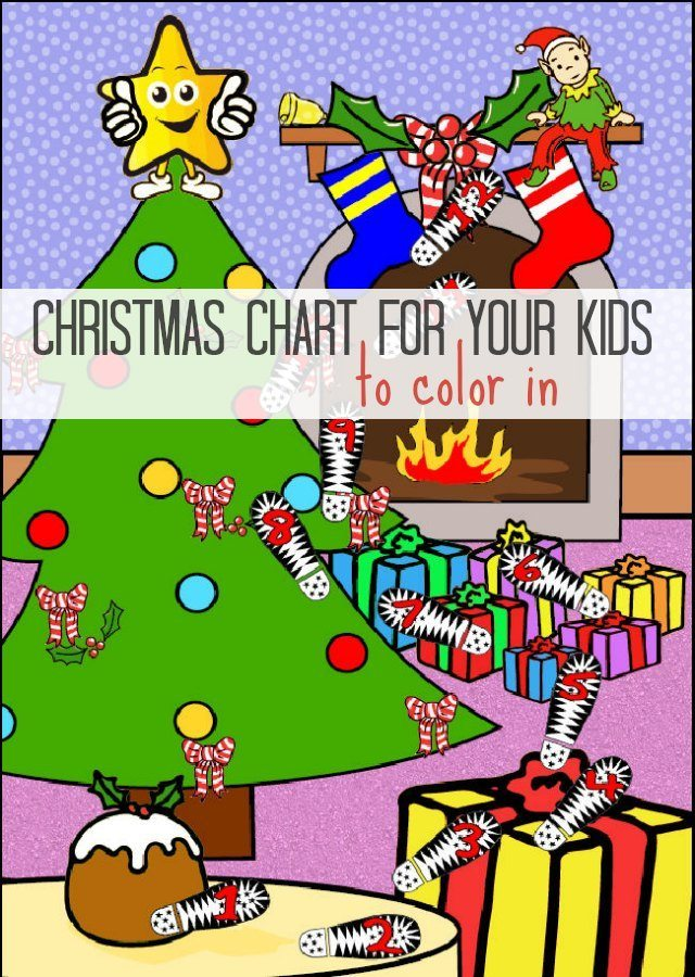 Your Elf on the Shelf Christmas Countdown Chart for Kids to Colour in