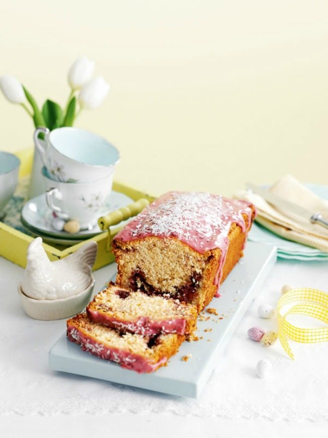 Coconut and raspberry loaf cake yummy recipe