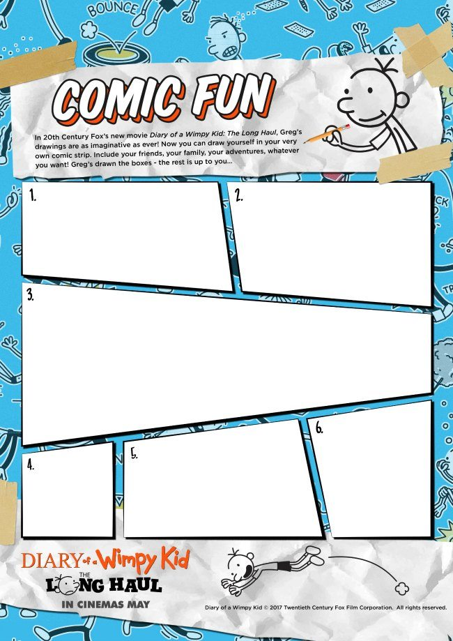 Diary of a wimpy kid coloring pages and activity sheets diary of a wimpy kid make your own comic number two activity sheet solutioingenieria Image collections