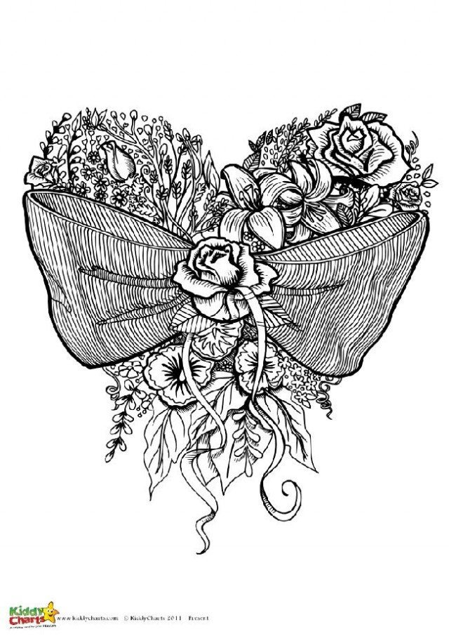 This is one of for designs of coloring pages for adults; this is based on a bow design with flowers. Check out the other three on the site.