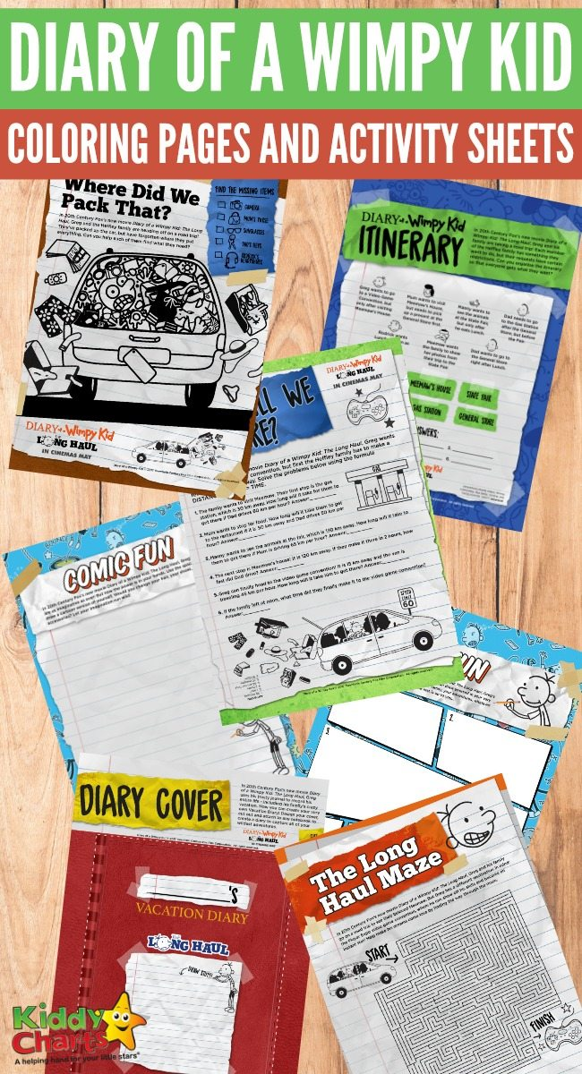 Diary of a Wimpy Kid coloring pages and activity sheets for kids