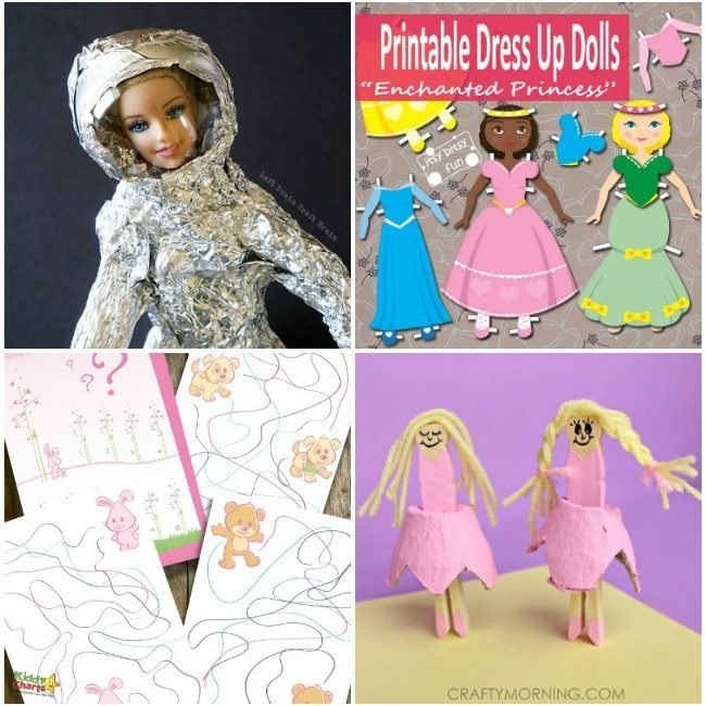 Doll activities and printables round up for kids to have lots of fun