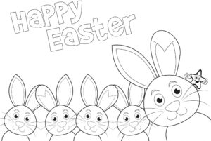 Easter Colouring Pages: Happy Easter