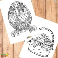 Easter egg adult and kids coloring pages