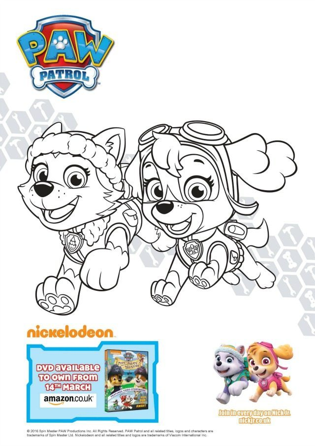 Everest and Skye Colouring Page