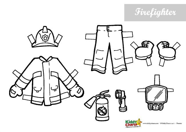 Fireman activity Paper Dolls and Outfits