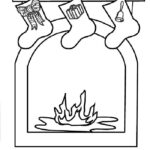 Christmas fireplace coloring page: Free to print