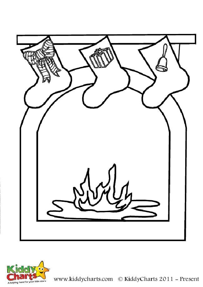 Lovely Christmas fireplace coloring page - Free to print