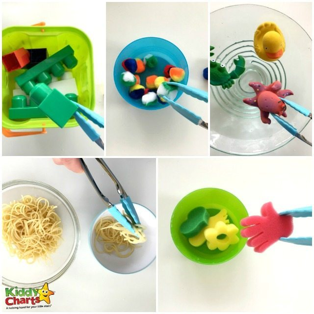 Five activities using kitchen tongs to promote fine motor skills