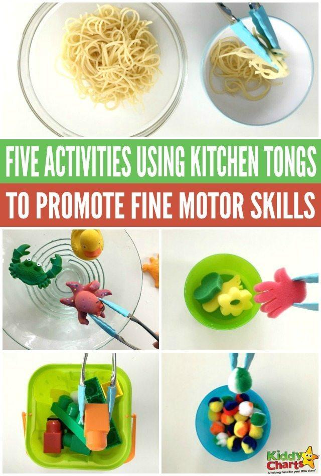 Five kids activities using kitchen tongs to promote fine motor skills