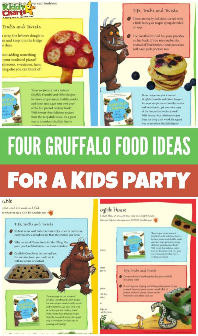 Four Gruffalo food ideas for your kids party with printable recipes included