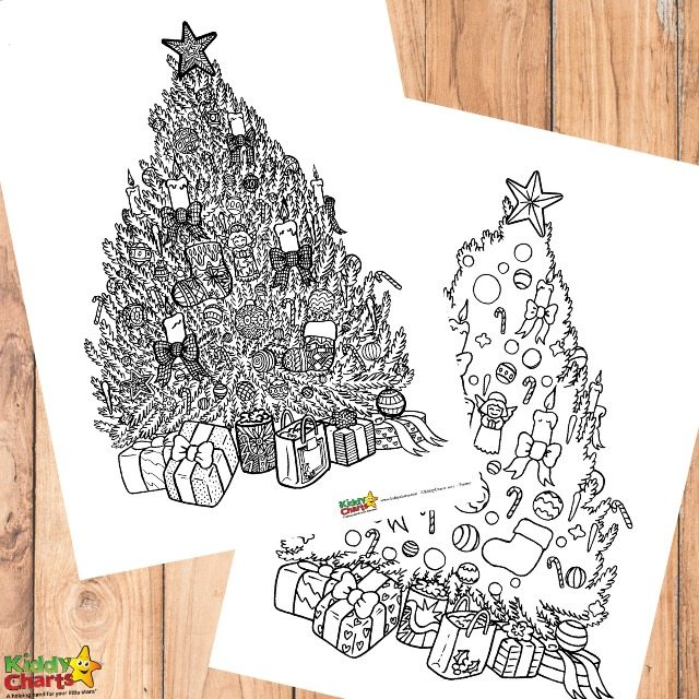 Free Christmas tree coloring for adults and kids