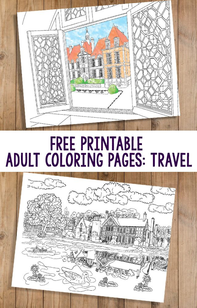 Adult colouring pages on a travel theme to help you relax and wish you were there!