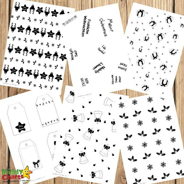 Free Printable Gorgeous Black and White Christmas Gift Tags and Paper Wrapps