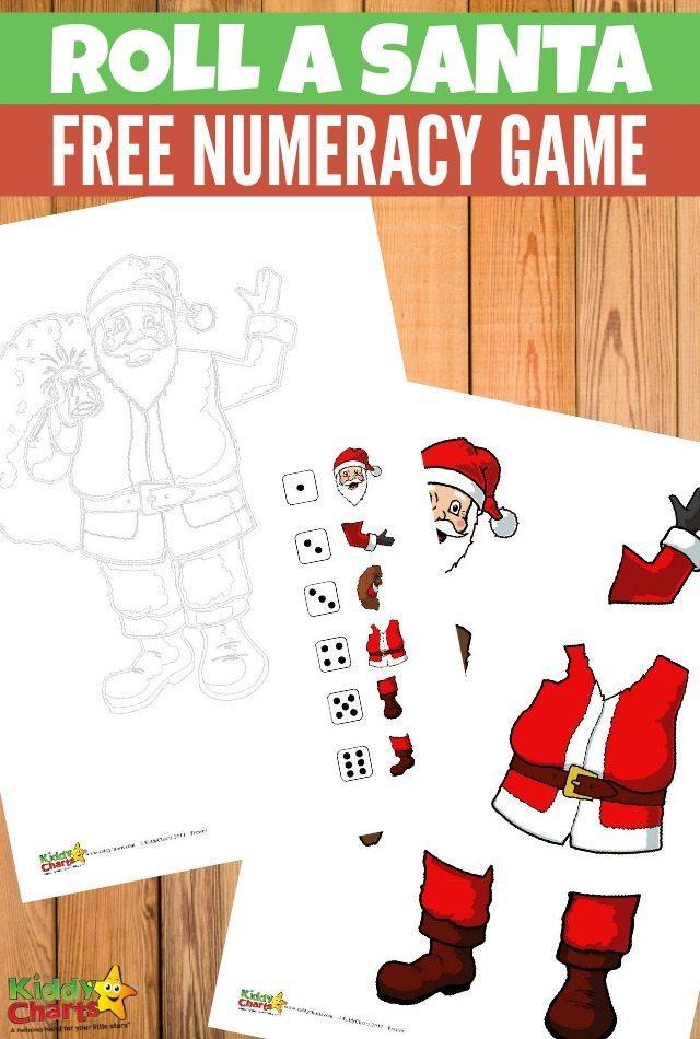Free Printable Roll a Santa Numeracy Game