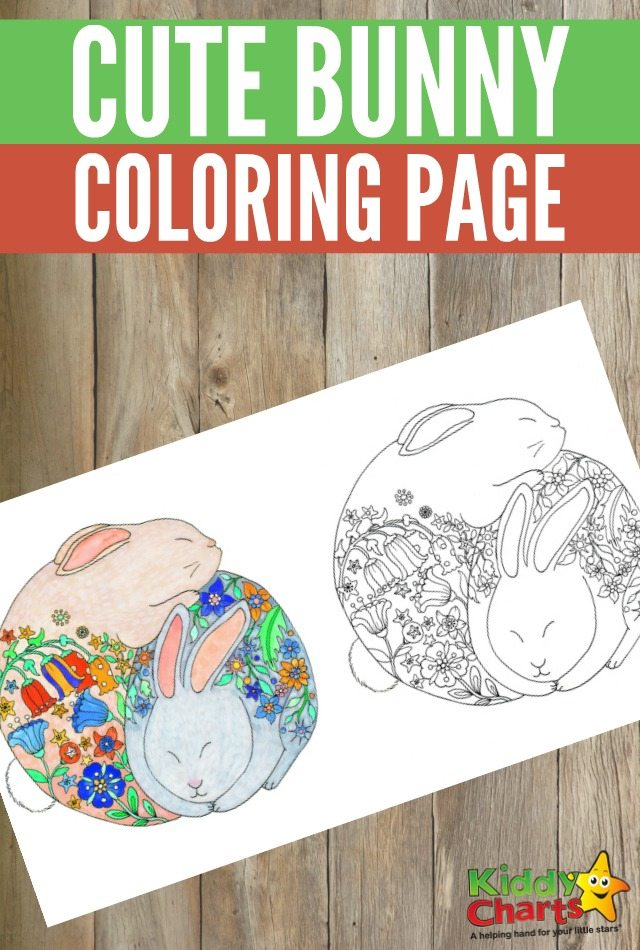 Free printable cute bunny colouring page