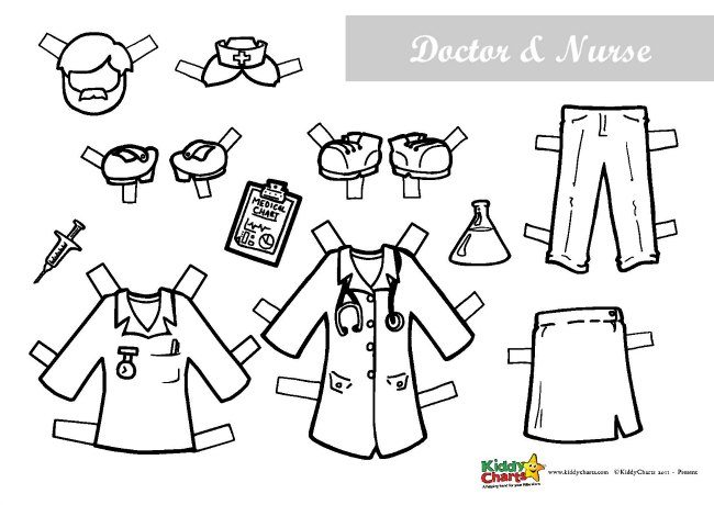 Free printable paper dolls Doctors and nursers