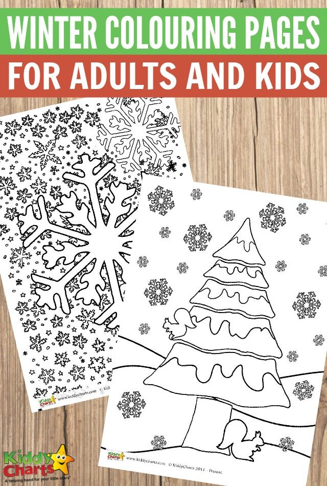 Free winter colouring pages for adults and kids