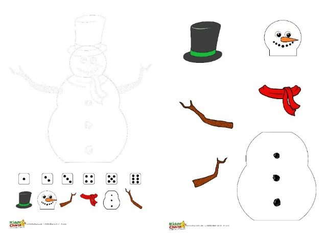 Free winter printable snowman dice game