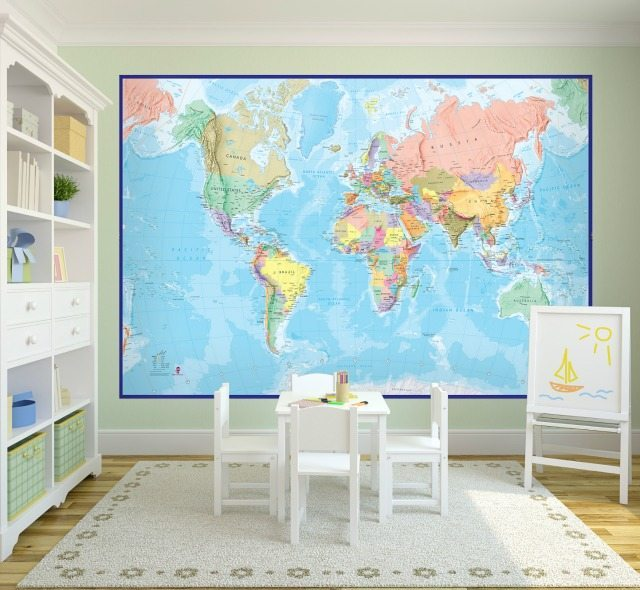 Win gifts to inspire young explorers this christmas with for Blue world map mural