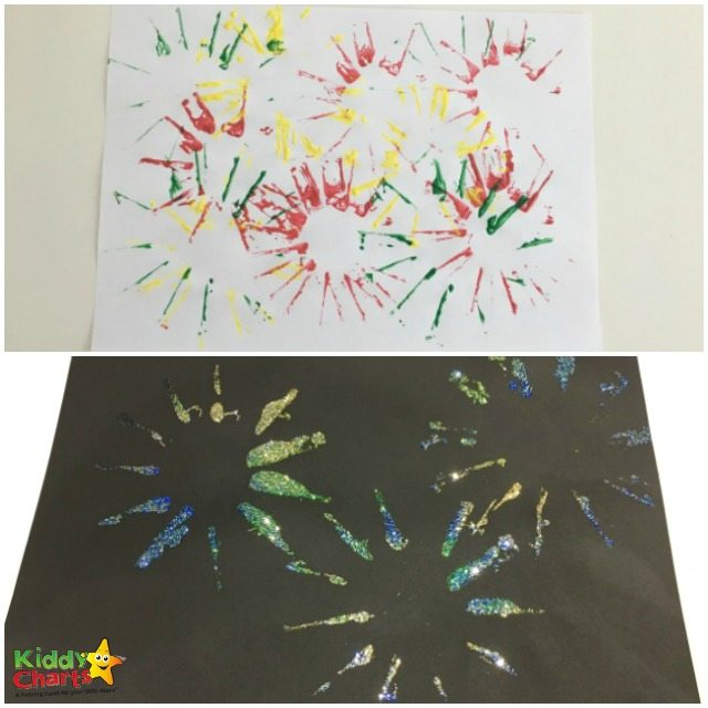 Glitter and color fireworks craft for kids