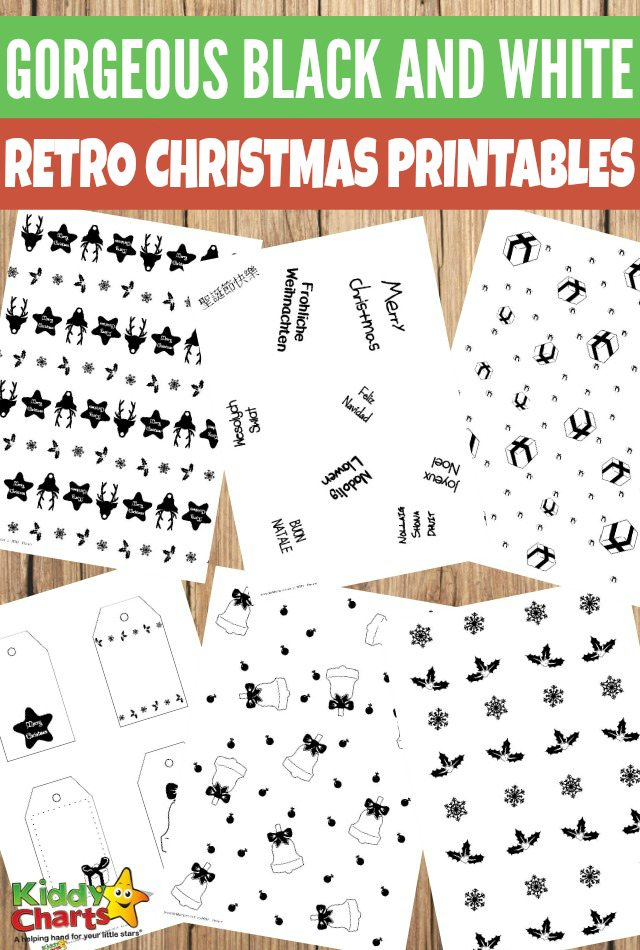 Retro Gorgeous Black and White Christmas Free Printables