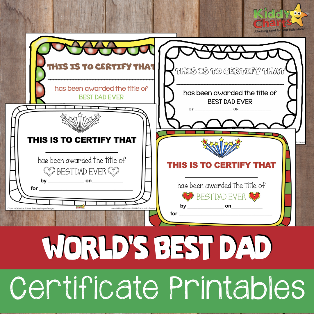We got Fathers Day Certificates for you - and you can print them in colour or black and white; as well as add the day it was awarded, or not! Your choice #FathersDay #Giftsfordad #Gifts
