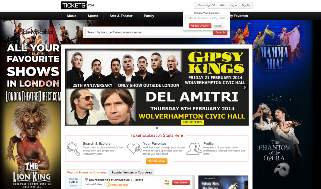 online tickets: homepage for tickets.com