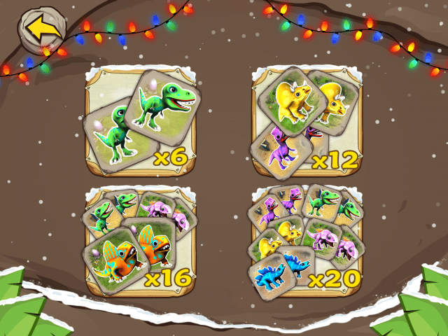 Here you can see the different levels of the Dino Flip matching game.